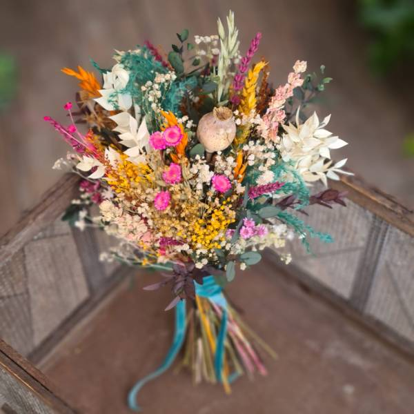 Ramo de novia de flores preservadas color